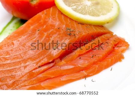 close-up of smoked salmon