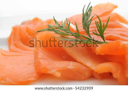 Close-up of smoked salmon served with dill