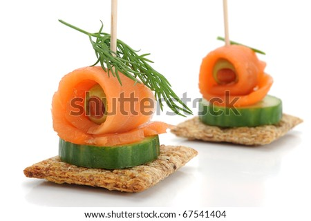 Close-up of smoked salmon snack, studio isolated on white background