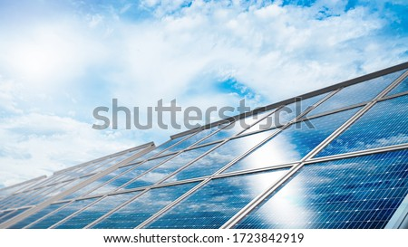 Close-up of Solar cell farm power plant eco technology.landscape of Solar cell panels in a photovoltaic power plant.concept of sustainable resources.