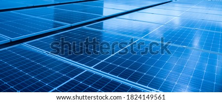 Close-up of Solar cell farm power plant eco technology.landscape of Solar cell panels in a photovoltaic power plant.concept of sustainable resources and renewable energy.blue tone.