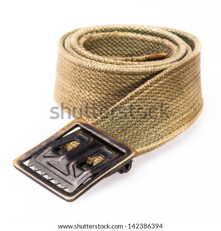 Close up of soldier belt on white background