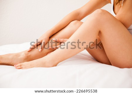 Close up of some beautiful and smooth legs from a young woman who just removed all hair