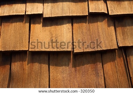 Close- up of some cedar wood shingles. Makes a nice background image.