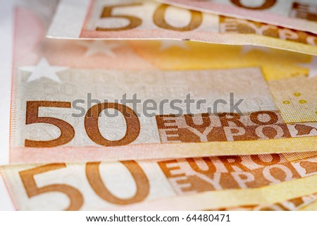 close up of some 50 euros bills