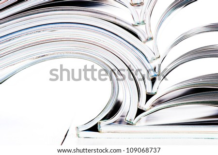 Close up of some open magazines