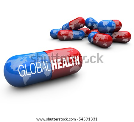 Close-up of some pills, with one featuring the words Global Health