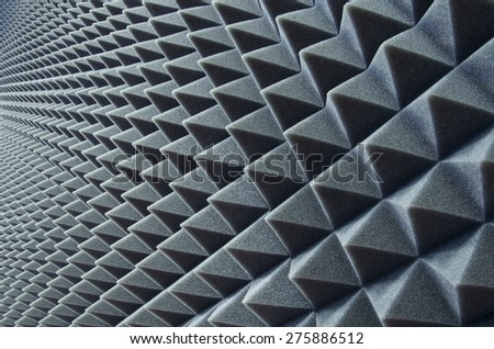 Close up of sound proof coverage in music studio