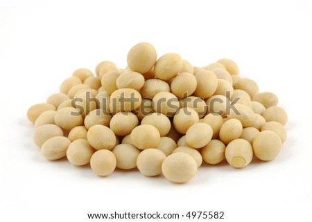 Close up of soy beans in isolated white background