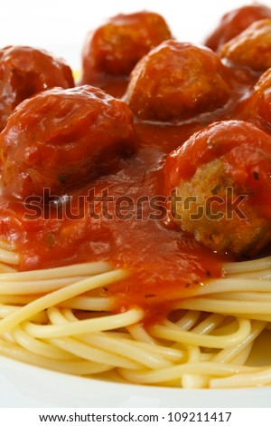 close up of Spaghetti and Meatballs in a bolognese sauce a western adaptation from traditional italian cooking - stock photo