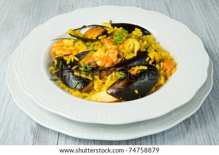 Close-up of Spanish paella on white plate