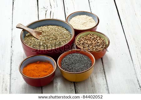close up of spices on bowl