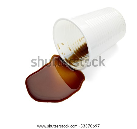 close up of spilled coffee on white background with clipping path