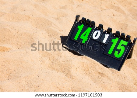 Close up of sport volleyball scoreboard on the summer sand. Score of valleyball game, free place for text, copyspace.