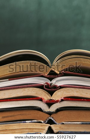 close up of stack of books