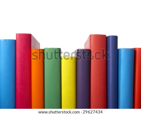 close up of stack of colorful books on white background, with clipping path included