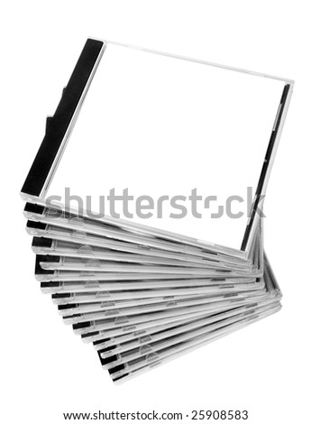 close up of stack of disk cases on white background with clipping path