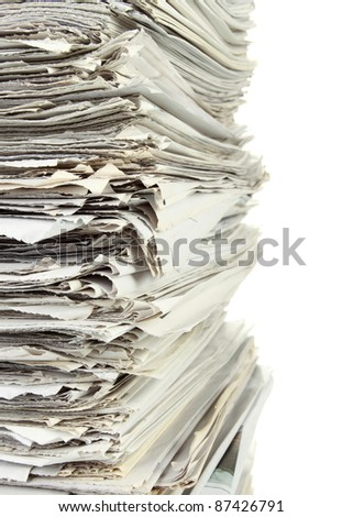 close up of Stack of newspaper on white background