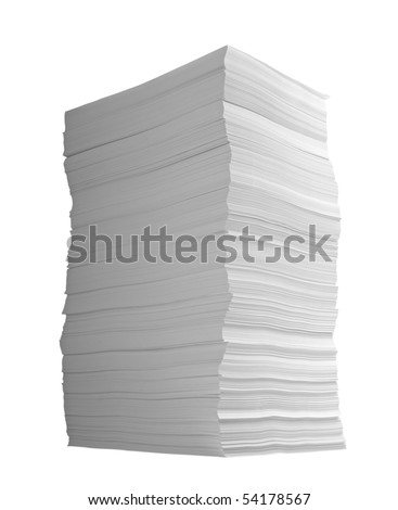 close up of stack of papers on white background with clipping path - stock photo
