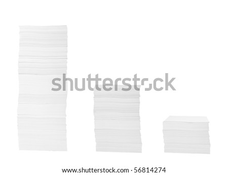 close up of stack of papers on white background with clipping path