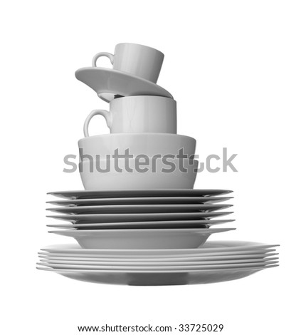 close up of stack of white ceramic dishes on white background with clipping path