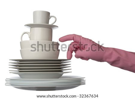 close up of stack of white ceramic dishes ready for washing and hand in glove on white background with clipping path