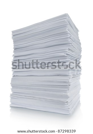 close up of stack paper in white background