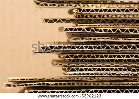 Close up of stacked brown recycled carton
