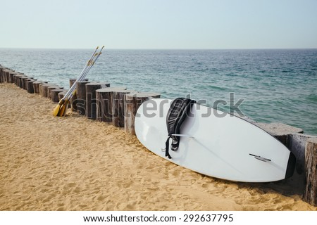 Close Up Of Stand Up Paddle Board And Oar On The Beach