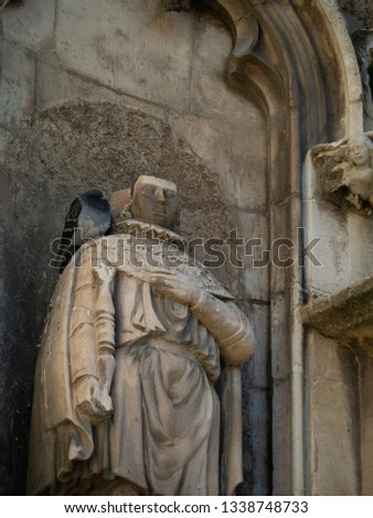 Close up of statue decorated at entrance of Aix Cathedral (Cathédrale Saint-Sauveur d'Aix-en-Provence) in Aix-en-Provence. Aix Cathedral was Built and re-built from the 12th until the 19th century. #1338748733