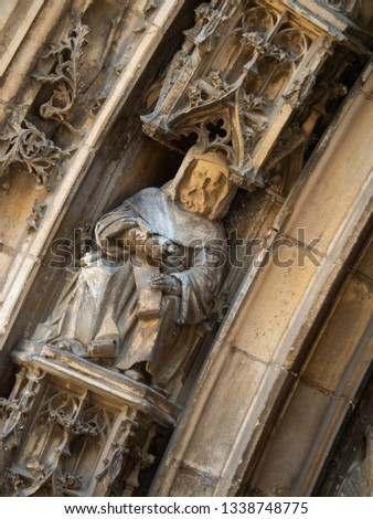 Close up of statue decorated at entrance of Aix Cathedral (Cathédrale Saint-Sauveur d'Aix-en-Provence) in Aix-en-Provence. Aix Cathedral was Built and re-built from the 12th until the 19th century. #1338748775