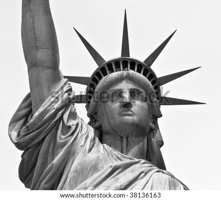 Close up of statue of liberty, black and white