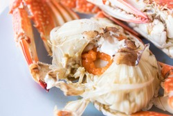 Close up of steamed blue crabs and crab spawn usually serve with spicy seafood sauce.