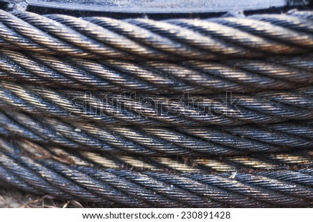 close-up of steel cable. Selective focus