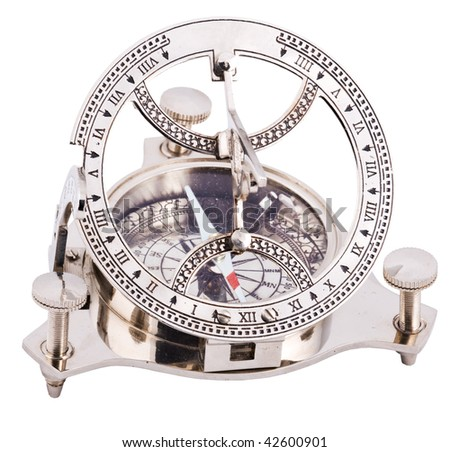 Close up of steel old fashioned compass isolated with clipping path on white background