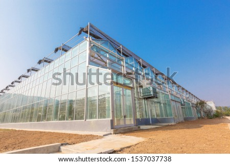 Close-up of steel structure greenhouse structure