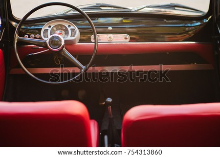close up of steering wheel and...