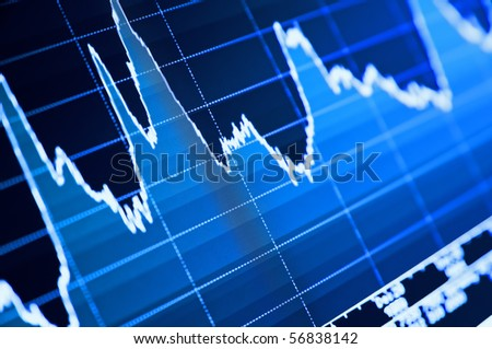 Close-up of stock chart on LCD screen.