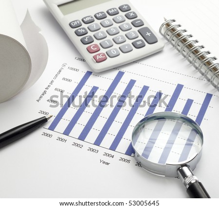 close up of stock market chart, glasses, calculator, pen and magnifying glass