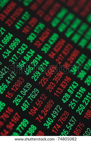 Close up of stocks & shares figures - some in the red & some in the green - shallow dof