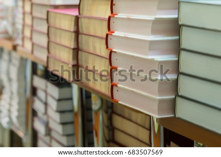 close up of stops of books ...
