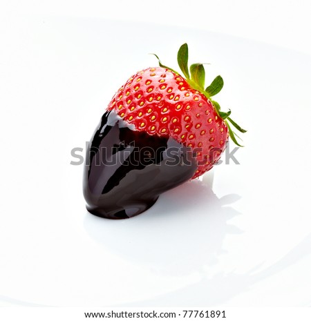 close up of strawberry with on white background