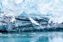 Close up of striations in the Margerie Glacier terminus, Glacier Bay National Park, Alaska
