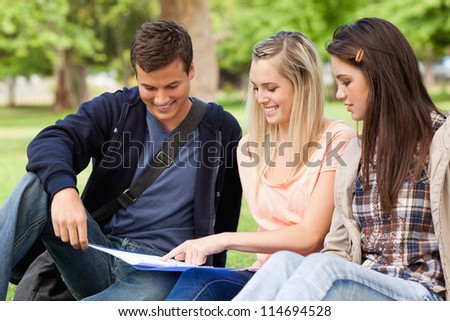 Close-up of students studying while sitting in a park