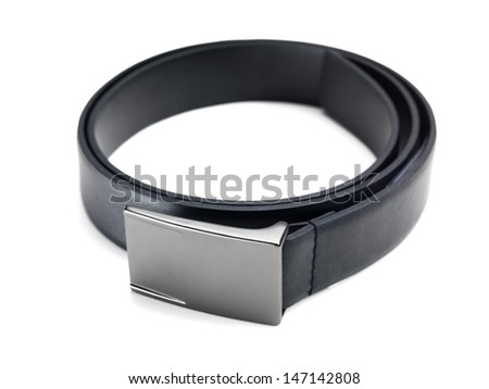 Close up of stylish fashionable black leather belt