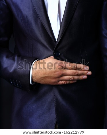 Close up  of stylish man in elegant  suit