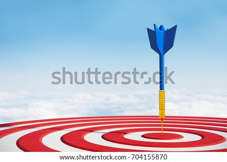 Close up of success dart board target with arrows on sky background. Targeting concept. 3D Rendering  ストックフォト ©