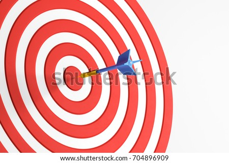 Close up of success dart board target with arrows on white background. Achievement concept. 3D Rendering  ストックフォト ©