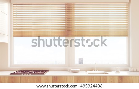 Close up of sunlit kitchen counter with oven, sink and large shaded window. Concept of making food at home. 3d rendering, toned image