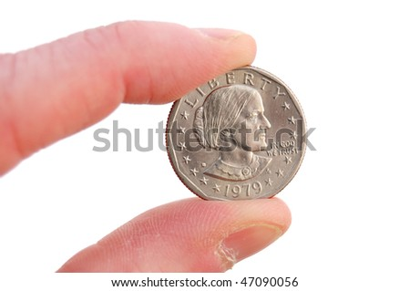 Close-up of Susan B. Anthony Dollar Coin Isolated on White